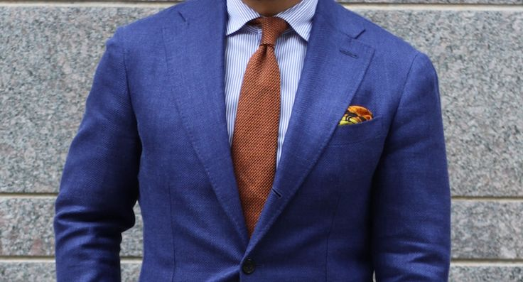 mens blue suit light blue shirt and brown calf leather shoes