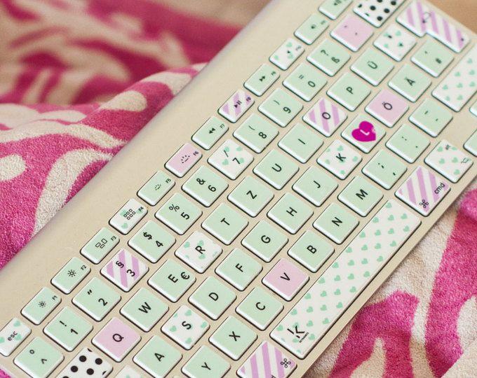 Etiquetas engomadas Washi tape teclado Macbook cubren piel Washi Macbook teclado etiqueta macbook pegatinas teclado macbook macbook # menta rosa washi