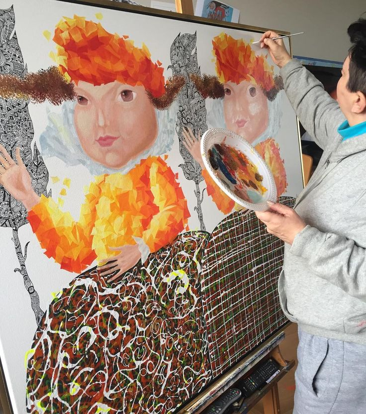 Work in progress on a new  #painting  by #Yelena - http://ift.tt/1XRnl39 .. #art #propertstyling #interiorstyling #decorative #interiodesign #bondi #sydney #melbourne #arte #girls #artsy #workinprogress #modernart #gallery #canvas  #instaart #instagood #follow4follow  #draw #drawing