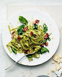 Spinach Pasta Carbonara Recipe