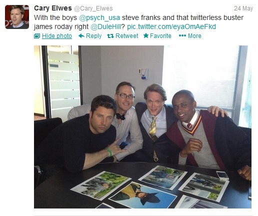 """@Cary_Elwes: """"With the boys @psych_usa steve franks and that twitterless buster james roday right @DuleHill? pic.twitter.com/eyaOmAeFkd"""""""