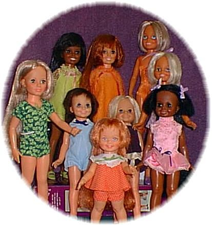 """I owned the original Crissy Doll (Red head top center), and Mia (blue outfit) and Velvet (to the right of Mia). They were the first """"growing hair"""" doll introduced in 1969 by Ideal Toys."""