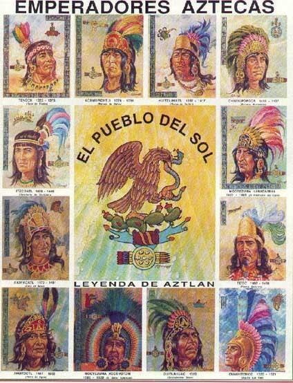 Emperadores Aztecas del pueblo del Sol. (La clásica estampita escolar).