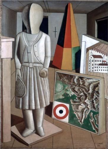 Carlo Carrà (1881-1966), La Musa Metafisica - 1917, Sa peinture a été la protagoniste de toutes les principales étapes de l'art italien, des premières décenniées du XXe siècle, du futurisme l'aventure de la Metafisica, à l'aboutissement des poétiques de la nouvelle figuration du Novecento, à la sublimation de l'opposition au régime fasciste.
