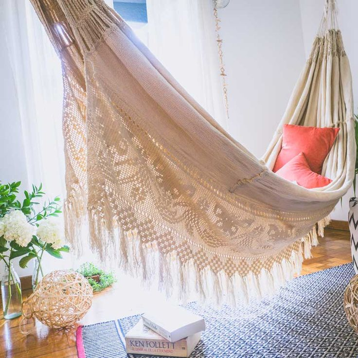 Meet the quintessential hammock, made entirely by hand, by amazing crafters of the Wayuu Tribe. Each piece takes up to three monts in the making.