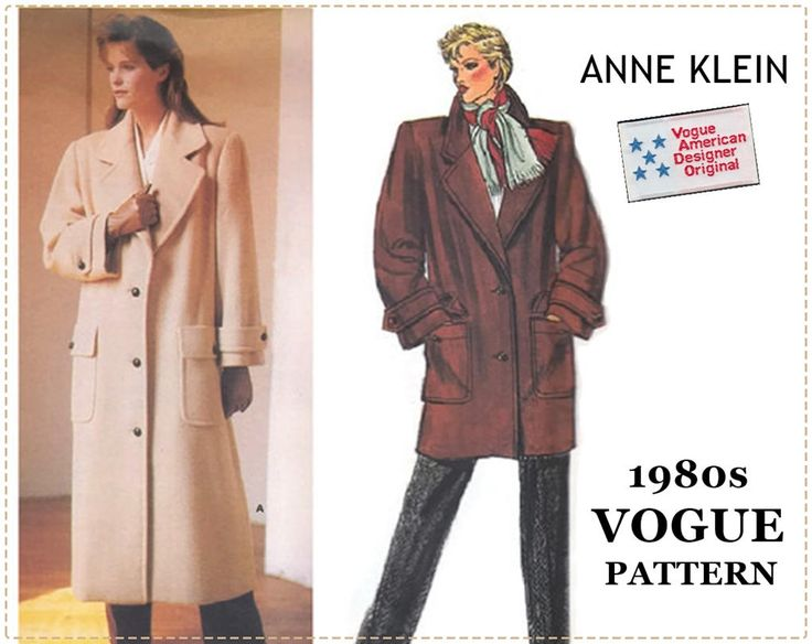 1980s Anne Klein Coat Pattern - Vogue 1458 American Designer - Loose-fitting Coat, Long Coat - Size 10 Bust 32 1/2 - UNCUT, Sew In Label by EightMileVintageSews on Etsy