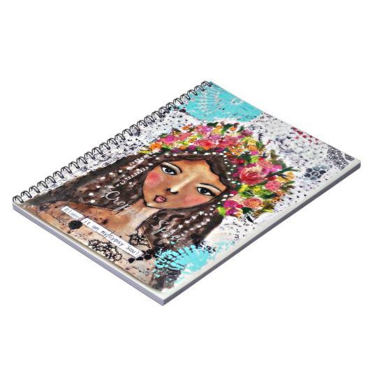 Original handmade mixed media art spiral note book