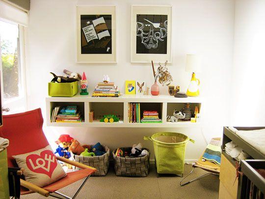 Nursery: Floating Shelves, Plays Rooms, Ikea Shelves, Boys Rooms, Small Nurseries, Modern Nurseries, Storage Ideas, Toys Storage, Kids Rooms