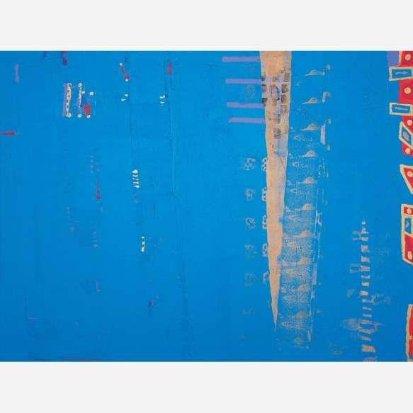 """Siron Franco<br>""""Escada de Jacó""""Óleo sobre tela. <br>147 x 197 cm."""