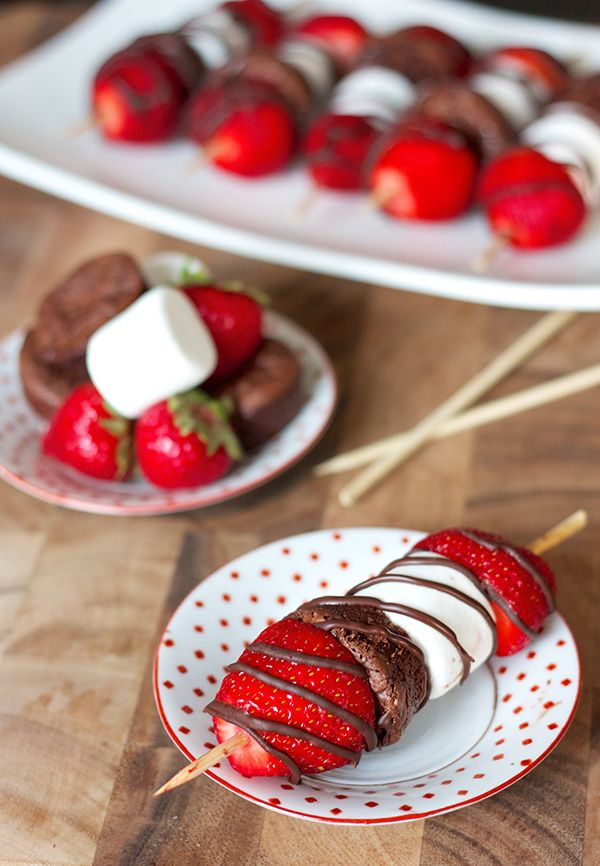 Strawberry Brownie Kabobs- pretty low in calories for how delicious they are