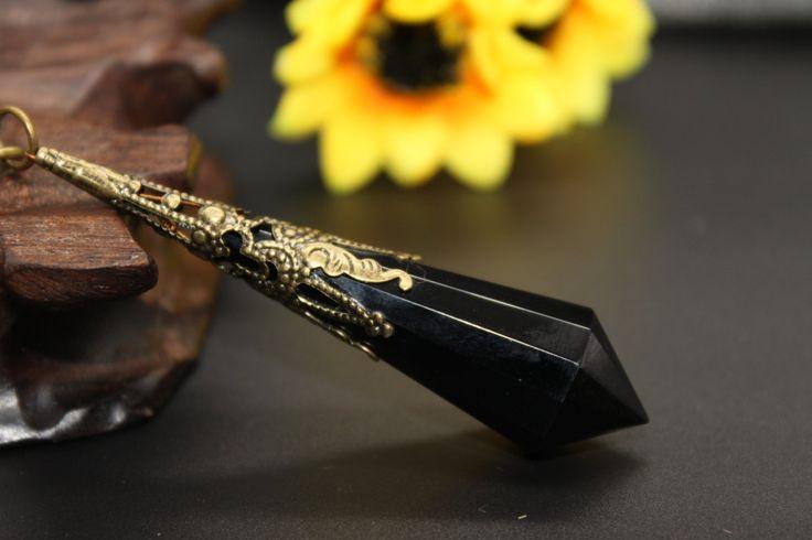 Faceted Black Obsidian Pendulum,Crystal Pendulum,Obsidian Pendant, Shamans Tool, Dowsing tool by AmazingGemstone on Etsy