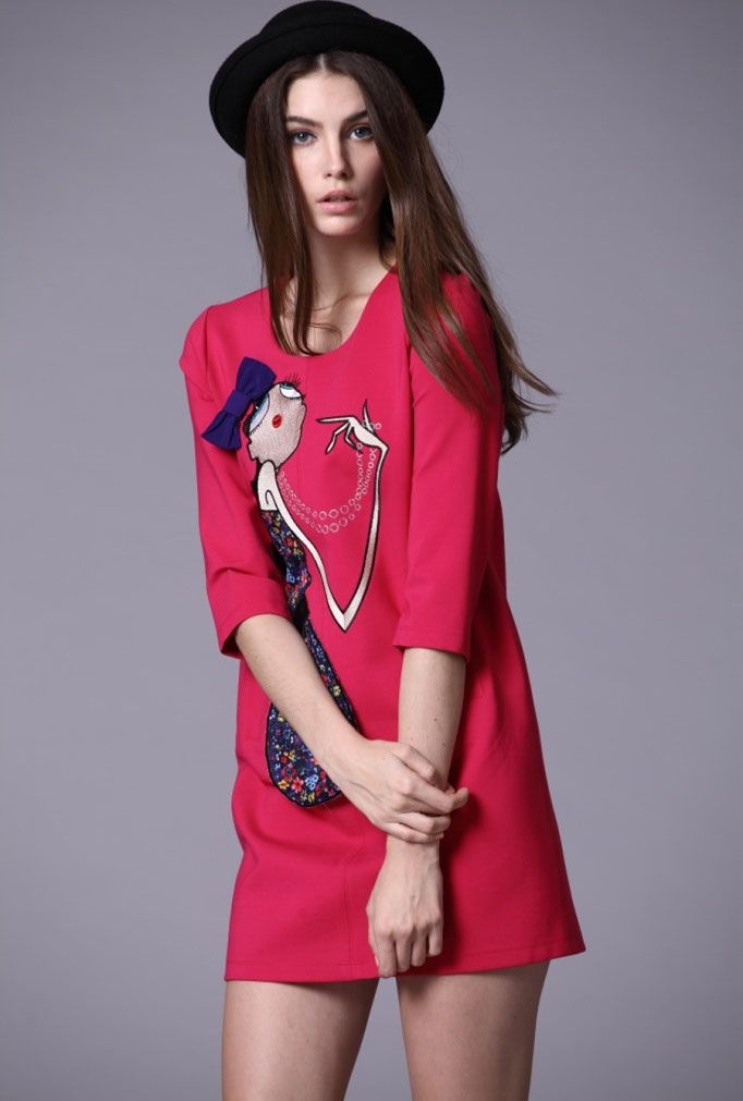 Red Half Sleeve Girl Embroidered Bow Dress - Fashion Clothing, Latest Street Fashion At Abaday.com