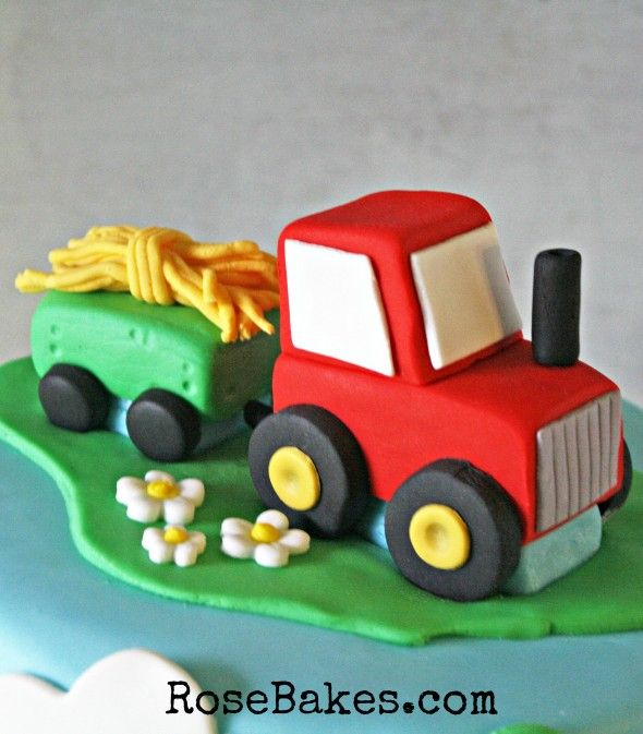 How to Make a Tractor Cake Topper | http://rosebakes.com/how-to-make-a-tractor-cake-topper/