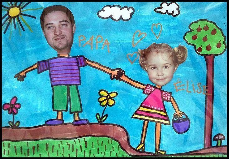 een mooie tekening van zichzelf en papa, waarvan de hoofden van een foto gehaald zijn.