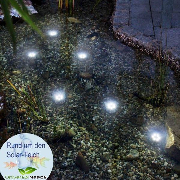 LED-Solarstrahler für Unterwasser sorgen für tolle Lichtakzente im Kiesbeet und bis zu 3 m Wassertiefe