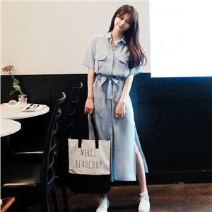 レディースファッション通販春夏物 ロング丈シャツワンピース 韓国ファッション