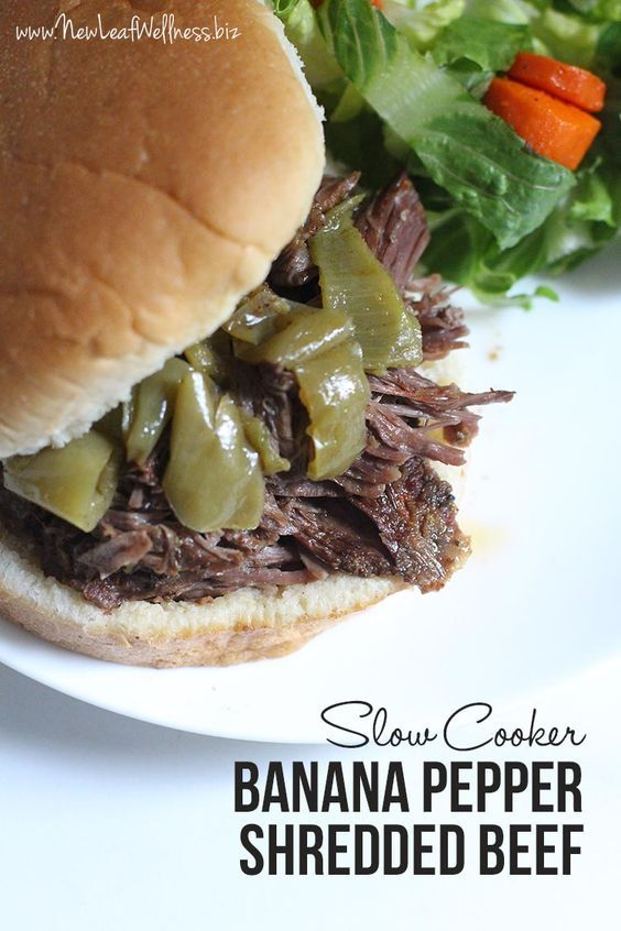 Slow Cooker Banana Pepper Shredded Beef.  Only 4 ingredients and so delicious!