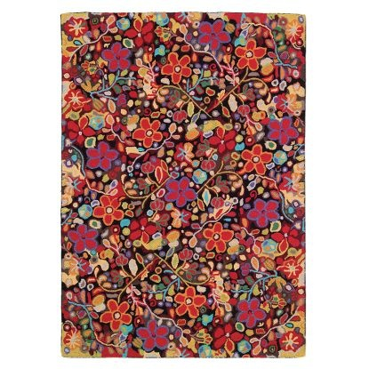 Wendy's Garden Rug in Multi (floral Pattern, Hooked Rugs)   Handmade Area Rugs from Company C