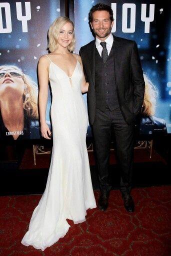 Jennifer Lawrence with 'Joy' co-star Bradley Cooper at the 'Joy' premiere.