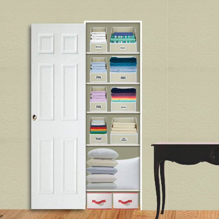 Kangaroom storage closet solutions extra small linen for Storage solutions for small closets