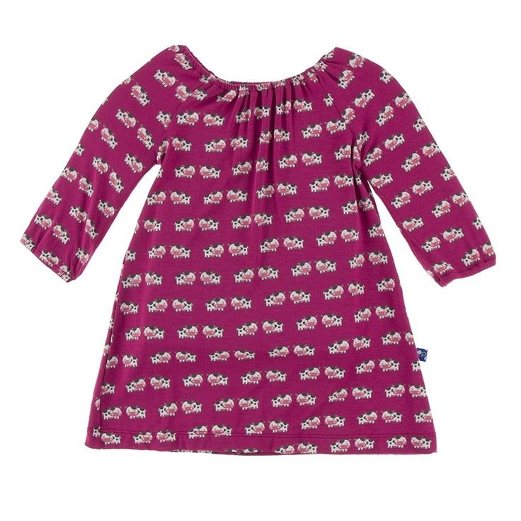 Print Long Sleeve Peasant Dress in Berry Cow, Fall Anniversary, 2017