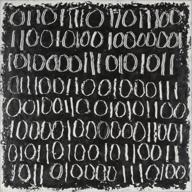 "Binary 108. II - 36"" x 36"" -  Encaustic and oil on panel - Catherine Eaton Skinner"