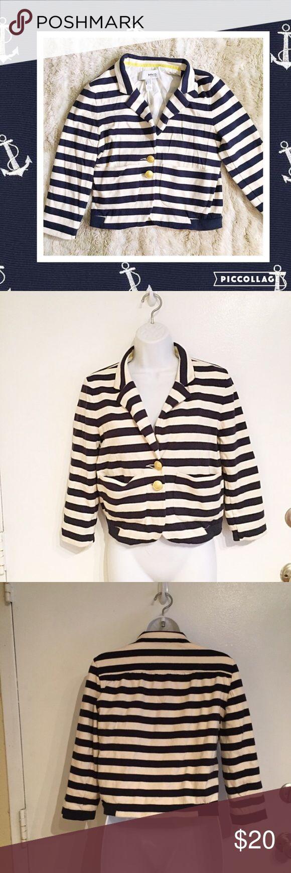 MNG Mango Nautical Chic Striped Blazer Jacket MNG by Mango. Striped slightly cropped Blazer jacket. Size medium. Has a cool nautical sailor vibe.  #mng #mango #cropped #blazer #jacket #nautical #sailor #striped #medium #punkydoodle  No modeling Smoke free home  I do discount bundles Mango Jackets & Coats Blazers