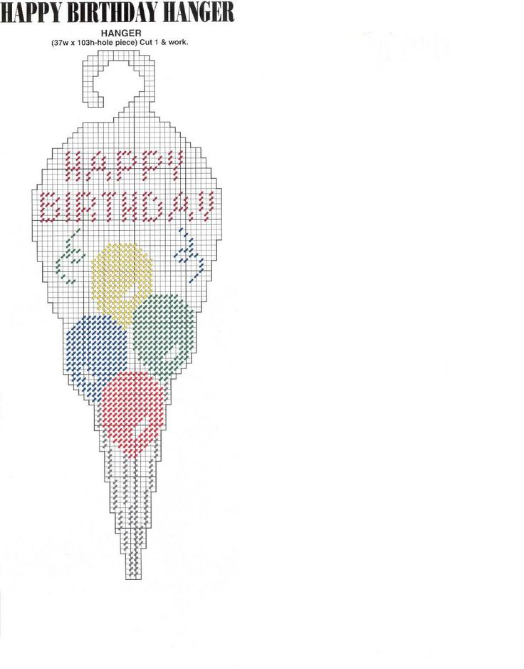 PC happy birthday door hanger pattern