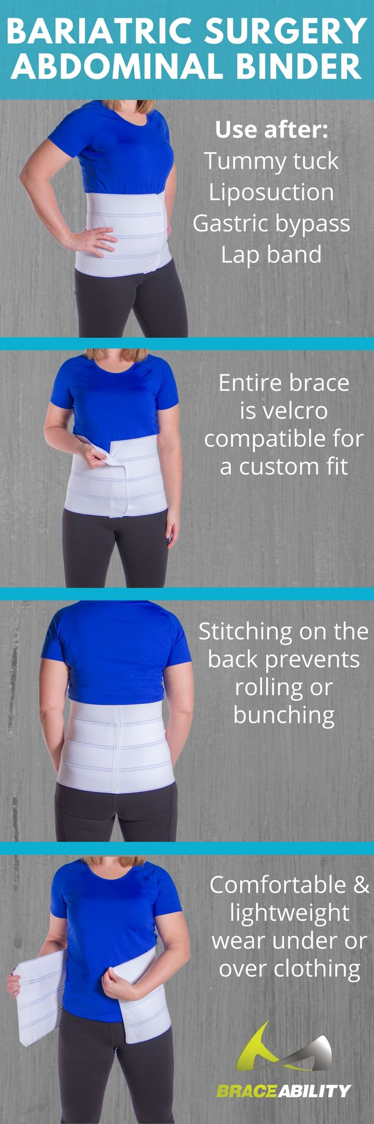 Wearing an abdominal binder after weight loss surgery is a very important component of the recovery process. This support will help with things like tummy tuck, liposuction, gastric bypass and lap band incision scars.