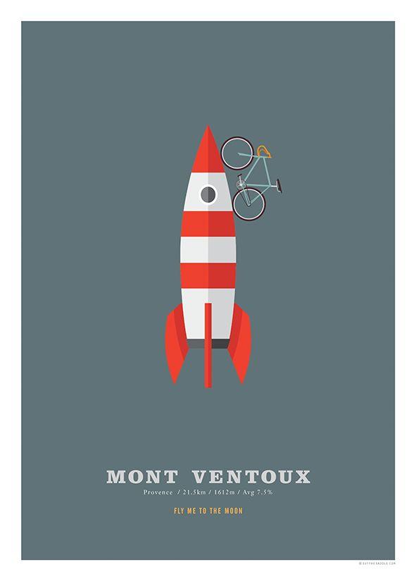 Mont Ventoux Cycling Poster Cycling Hill Climb