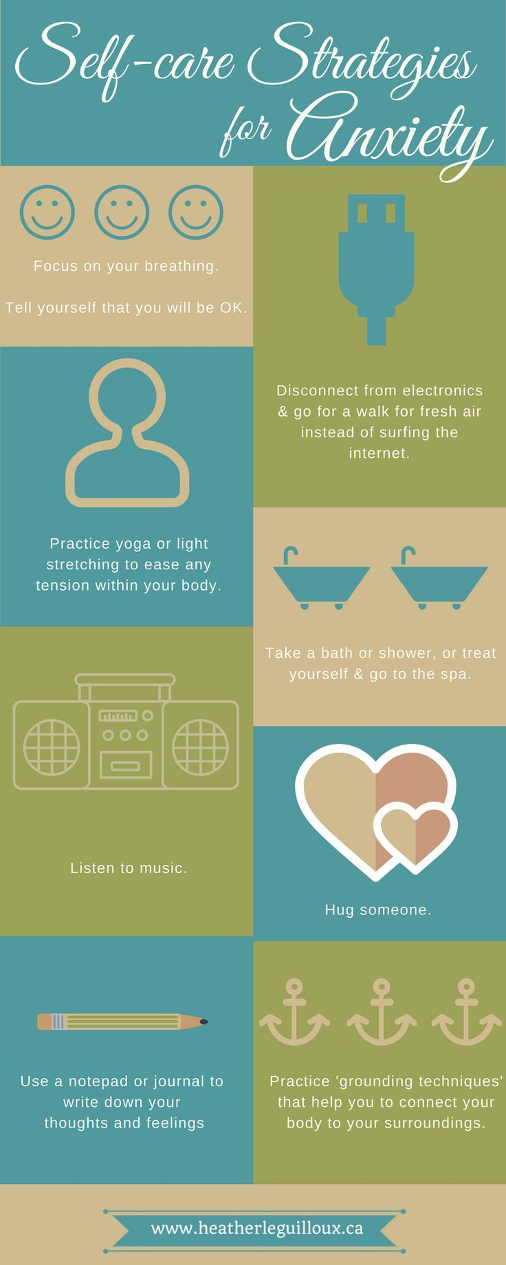 Infographic + blog post /hleguilloux/ identifying some helpful self-care strategies to help with symptoms of anxiety | anxiety disorders | mental health | coping | therapy | medication