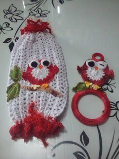 Arte em Crochê: Porta Panos De Prato E Puxa Saco De Corujas