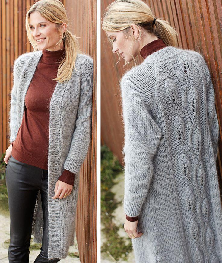 Пальто с узором «Листочки»