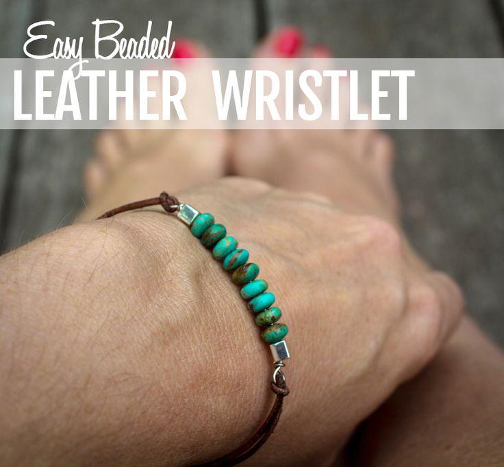 easy beaded leather wristlet - easy to follow tutorials at this site - ialwayspickthethimble.com