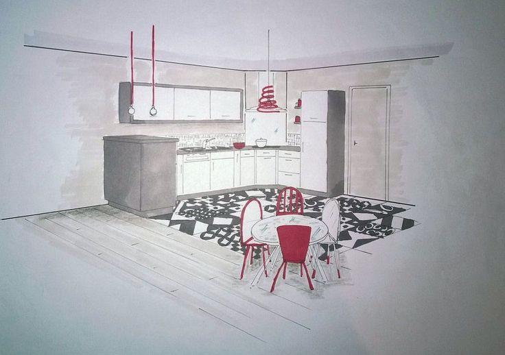 Croquis de la nouvelle cuisine par la décoratrice, Lydie Pineau : Avant-après : coup de jeune sur une cuisine ouverte - Journal des Femmes