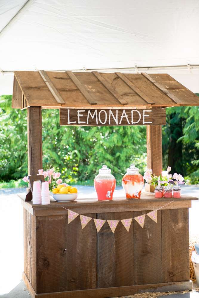 Rustic lemonade stand at a pony birthday party! See more party ideas at CatchMyParty.com!