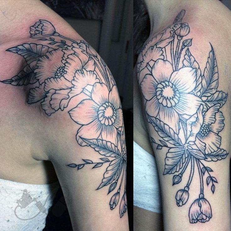 Floral shoulder cap tattoo
