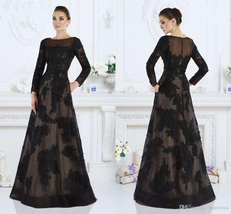 Long Sleeves Black Mother Of The Bride Dresses For Wedding Janique 2016 Lace Applique Evening Dresses Beads Spring A Line Party Formal Gowns Online with $148.64/Piece on Manweisi's Store | DHgate.com