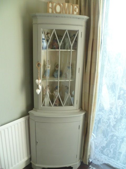 Shabby Chic Vintage Corner Display Cabinet in Pale Grey & Original White chalk paint (collection only from Bromley, Kent UK) by SunflowerLou on Etsy