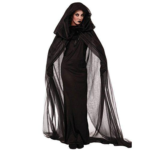 Sorcière Halloween Costume Deguisement — LATH.PIN Sorcière Robe Noir Anime Cape Jupe Longue Costume Vampire Cosplay pour Noël Halloween…