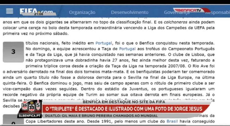 Benfica em destaque no site da FIFA