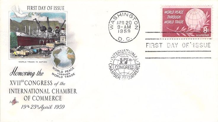 1959 World Peace Through World Trade Hand Colored Art Craft First Day Cover