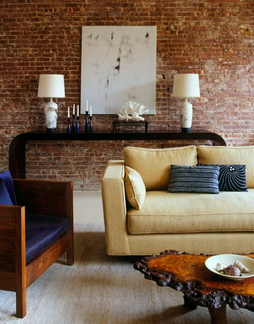 Exposed brick wall living room architecture art designs