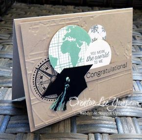 You Mean the World to Me Grad by Wendy Lee, #creativeleeyours, Stampin' Up!, Masculine graduation card, Bravo stamp set, Going Global stamp set