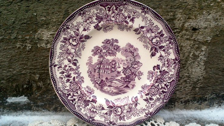 """Vintage 1930s Purple Plum Mulberry CLARICE CLIFF Tonquin Side Plate 6 1/2"""", Royal Staffordshire, Purple Transferware, English Transferware by CottonCreekCottage on Etsy"""