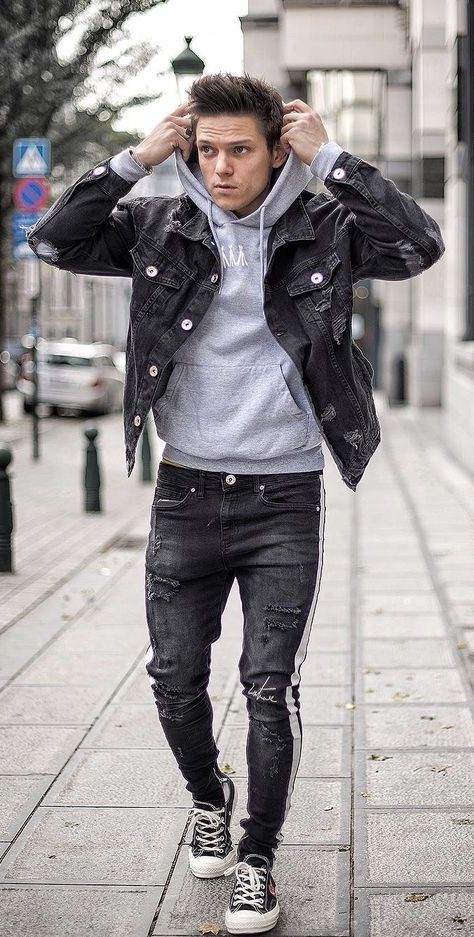 07939a23d9f @loic_vanlang - Casual fall outfit idea with a black denim jacket gray  hoody black distressed pants black commes des garcons chuck taylor sneakers.