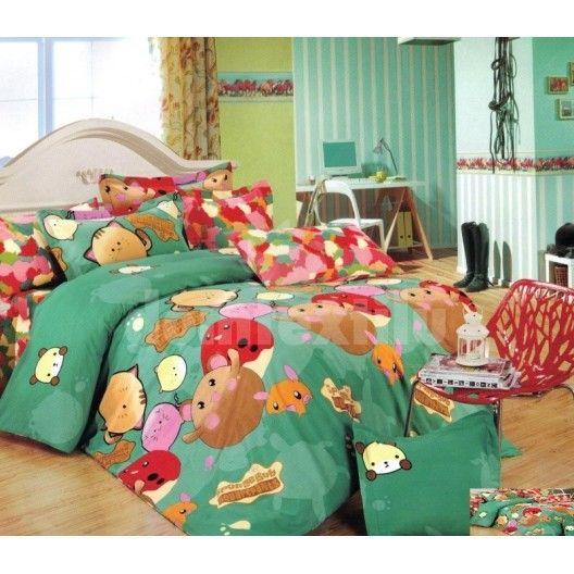 Zelené obliečky na detskú posteľ so zvieratkami