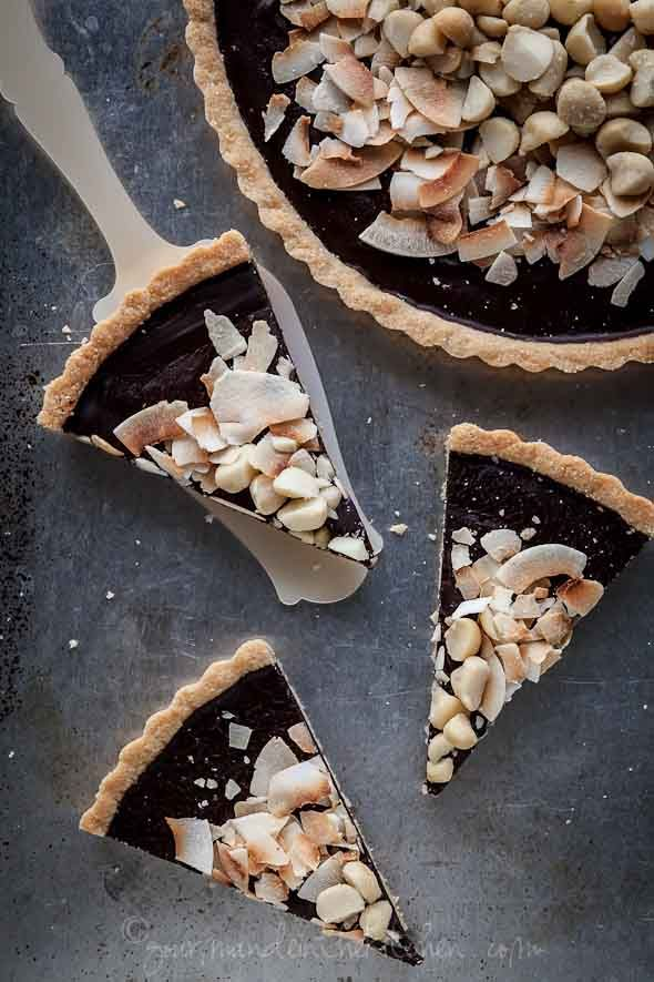 "Chocolate, Coconut, Macadamia Nut Tart Recipe (Gluten-Free, Paleo, Vegan)    @  Gourmande in the Kitchen  ""This chocolate coconut tart is dense, silky, utterly simple and guaranteed to fulfill your chocolate cravings."""