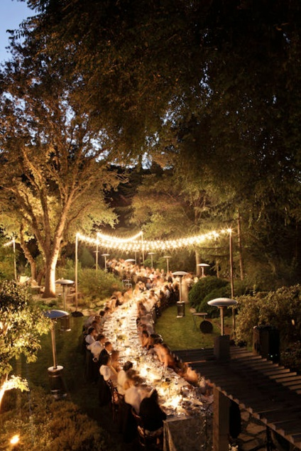 Outdoor party lighting...this one could be it.  Curved table placement.  Big backyard like mine.  Need to add the lighting hanging from trees.