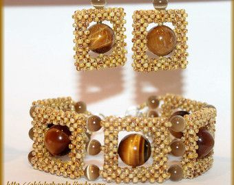 Glamour style jewelry set bracelet and earrings with Tiger's eye gemstone and cat's eye gemstone pearls japanese toho seed bead cubic RAW